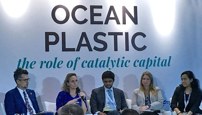 Shannon Bouton (second from left) spoke at Our Ocean conference in Bali, Indonesia, including a panel discussion about ocean plastic hosted by Circulate Capital